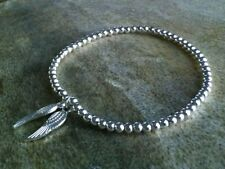 Simple Silver Ball Beaded Double Wing Angel Charm Stretch Bracelet, Bangle ⭐
