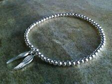 Simple de plata encanto de la Bola Cuentas doble ala ángel Elástico Brazalete Pulsera, ⭐