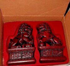 Foo Dog Chinese Guardian Lion Statue Figurine Pair Fu Foo Dog Red Resin
