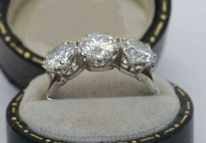 2 Ct Brilliant 3-Stone Round Diamond Best Engagement Ring In 14K White Gold Over