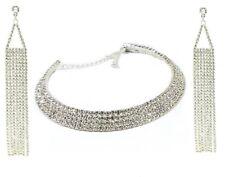 WOMEN DIAMOND CHOKER AND LONG TASSEL EARRING SET BRIDAL NECKLACE WITH EARRINGS