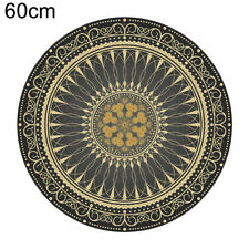 Black & Gold Design Round Floor Mat Bedroom Carpet Living Room Area Rugs