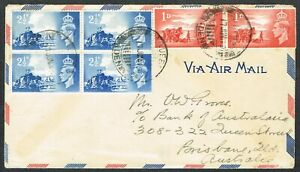 1949 PAQUEBOT ADEN in Air Mail Envelope to Australia Channel Island Franking
