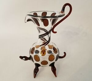 Vintage Miniature Clear & Brown Turtle Glass Pitcher