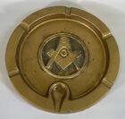 """VINTAGE Masonic Lodge Freemason Symbol Brass Ashtray Logo Large Heavy 8.5"""" Metal"""