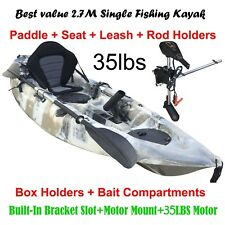2.7M Fishing Kayak 5 Rod Holders Seat Paddle 35lbs Motor Bracket Beige Camo