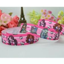 New 1 Metre Monster High Pink Printed Grosgrain Ribbon Designer 22mm Cakes Bow