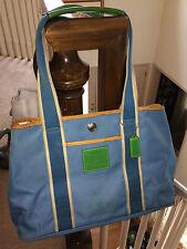 COACH Hampton Reversible Signature Nylon Satchel Tote Bag IR5656 Blue Leather Tr