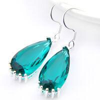 Pure Limpid Water Drop Green Topaz Gems Silver Dangle Hook Earrings