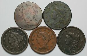 Lot of 5 Different Dates of Large Cents Circ - 175403A