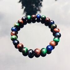 Natural Gemstone Tigers Eye Mixed Blue/Red/Green Elasticated Beaded Bracelet
