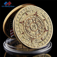 1oz Mayan Aztec Culture Calendar Gift Coin Gold Plated Coins Collectibles