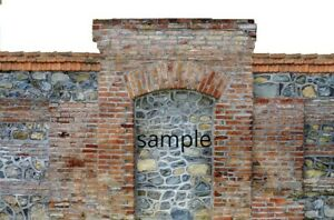 2 SHEETS EMBOSSED BUMPY BRICK wall paper 20x28cm EACH 1/6 scale, arch ARCH    7