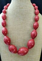 "Jay King Red Coral Chunky Bead Sterling Silver Graduated 19"" Necklace NWT"