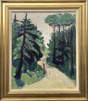 Expressionist Leif Ewens 1914-2001 Waldweg mit Kiefern Küstenwald 80 x 70 cm