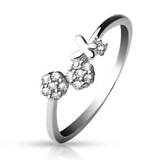 TJS .925 Sterling Silver Adjustable Toe Ring  with CZ Set Flowers and Butterfly