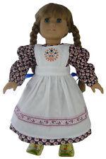 Baking Dress + Apron + Hair Ribbons for Pioneer Era Kirsten American Girl Doll