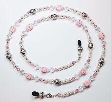 Pink & Silver Dice Austrian Crystal Eyeglass Chain Holder