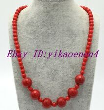 New Beautiful 6mm&14mm Round Red Coral Gemstone Necklace 18""