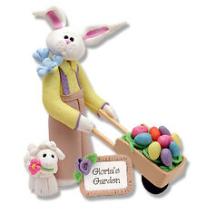 Personalized Easter Bunny Figurine Ornament Handmade Polymer Clay by Deb & Co