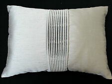 Silky Silver, hand pleated cushion cover with Passion Ebony reverse 50cm x 35cm