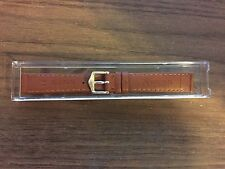 TOSCANA TAN ITALIAN VERA PELLE 14MM WATCHBAND WITH GOLD STRIPES NEW