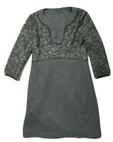 JAEGER GREY & BLACK/WHITE DRESS WITH KNITTED TOP & GREY WOOL BLEND SKIRT - UK 14