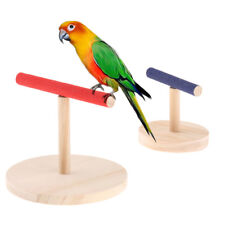 Parrot Bird Pet Perch Stand Wood Standing Training Grinding Toy