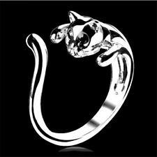 New Kitten Animal Lovely Finger Ring Crystal Black Cat Eyes Silver Plated