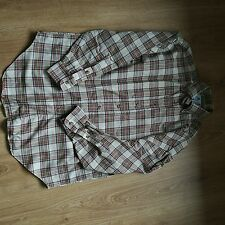 Stephens Brothers Shirt Check Beige Green Red Country Medium Made in Ireland