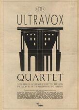 16/10/82Pgn32 Advert: Ultravox Album And Cassette quartet 15x11 FRAMED