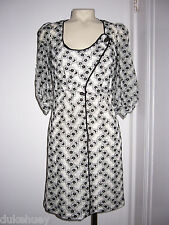 MAYLE FLORAL BLACK EMBROIDERED LACE DRESS SATIN PIPING 2 XS