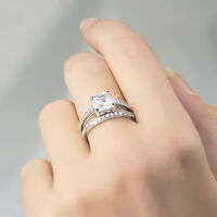 Womens 1.75 CT Cushion Cut Engagement RING Wedding BAND Set Gold Plated Size 5-9