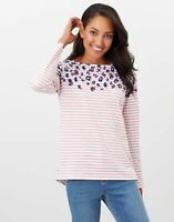 Joules Womens Harbour Long Sleeve Jersey Top - Creme Pink Leopard