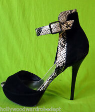 BAKERS Stilleto high heel platform SNAKE skin ankle strap 11M stripper suede 5in
