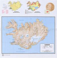 MAP POLITICAL CIA 1973 ICELAND INFORMATION OLD LARGE REPRO POSTER PRINT PAM1410