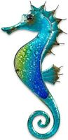 "Fused Glass Seahorse Metal Wall Art Decor Blue 17.5""L x 8.5"" Wide 1328"