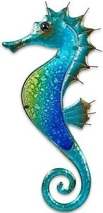 """Fused Glass Seahorse Metal Wall Art Decor Blue 17.5""""L x 8.5"""" Wide 1328"""