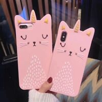 For Various Phone 3D Cartoon Lovely Unicorn Cat Animal Soft Silicone Case Cover