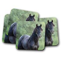 4 Set - Beautiful Black Andalusian Horse Coaster - Stallion Spanish Gift #12494