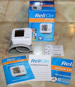 ReliOn BP200W Wrist Oscillometric Automatic Blood Pressure Monitor, Box, Manuals