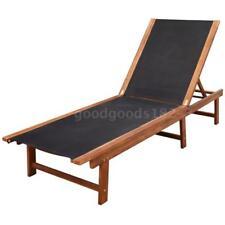 Outdoor Sunlounger Sun Bed Recliner Wooden Garden Patio Chair Adjustable A4X7