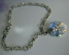 "Large crystal Heart 3/8"" 0.925 Sterling Silver 7"" X 1/8"" estate chain Bracelet"