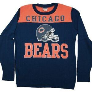 Junk Food Men's Large Chicago Bears Orange Blue Knit Pullover Sweater NFL
