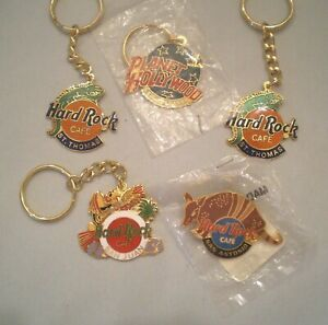Lot 4 Keychains & 1 Lapel Pin ~Planet Hollywood ~Hard Rock Cafe