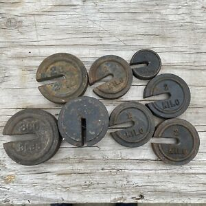 7 VINTAGE SCALE WEIGHTS Lot Platform Iron Antique General Store Pounds Lbs
