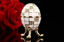 Beautiful White Metal Faberge Russian Easter Vintage Style Trinket Decor Small