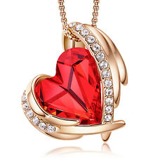 18K Gold Plated Necklace for Women Red Crystal Heart Pendant for Women