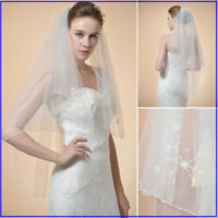 2T Ivory Bridal Veils Embroided Pearl Crystal Beaded Wedding Veils w/ Dual Edge