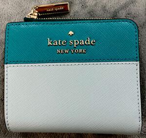 New Kate Spade L-Zip Bifold Wallet MSRP $129 Staci Colorblock Frosted Spearmint